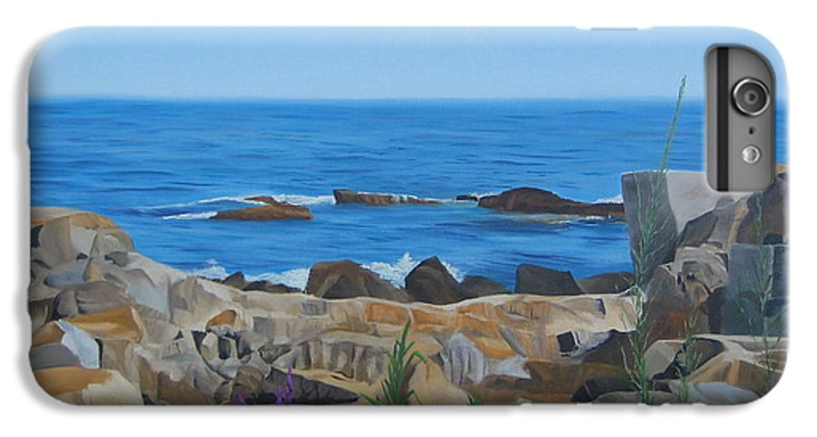 Seascape IPhone 6 Plus Case featuring the painting Bass Rocks Gloucester by Lea Novak