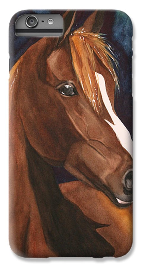 Horse IPhone 6 Plus Case featuring the painting Bay On Blue 2 by Jean Blackmer
