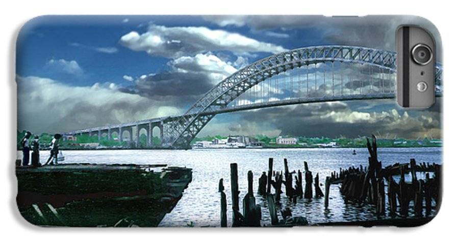 Seascape IPhone 6 Plus Case featuring the photograph Bayonne Bridge by Steve Karol