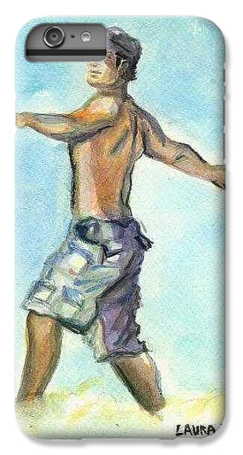 Man On Beach IPhone 6 Plus Case featuring the painting Beach Boy by Laura Rispoli