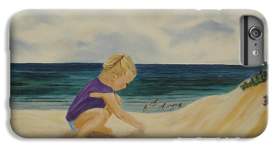 Child IPhone 6 Plus Case featuring the painting Beachcomber by Susan Kubes