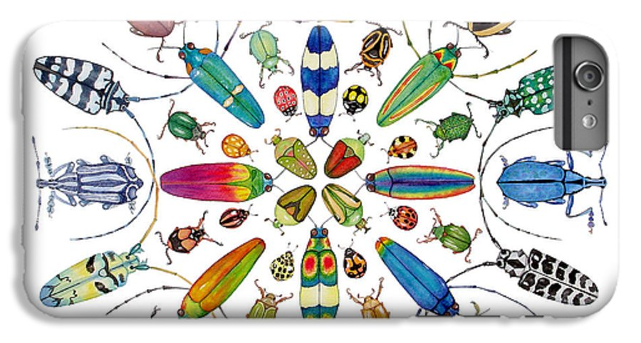 Insects IPhone 6 Plus Case featuring the painting Beautiful Beetles by Lucy Arnold