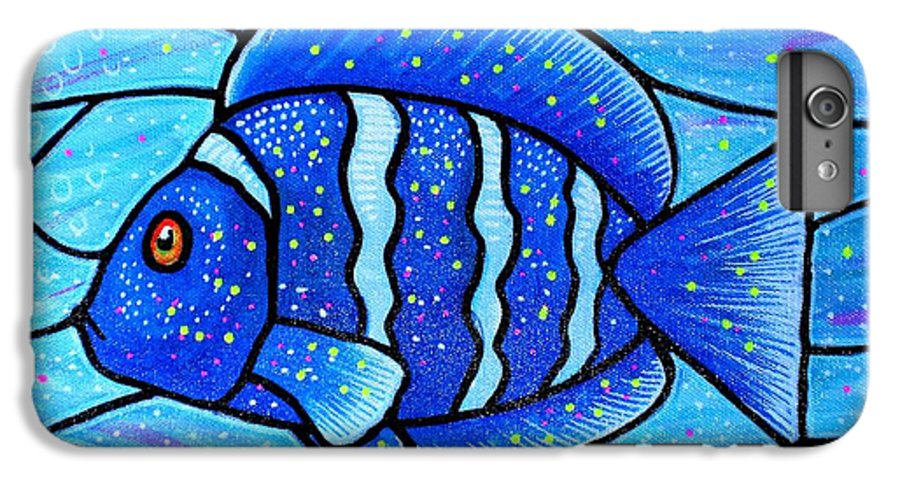 Tropical Fish IPhone 6 Plus Case featuring the painting Beckys Blue Tropical Fish by Jim Harris