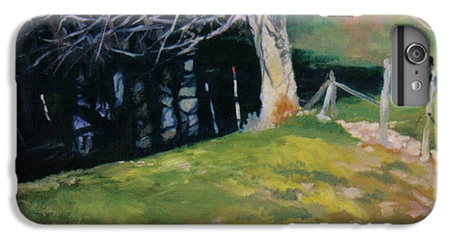 Landscape IPhone 6 Plus Case featuring the painting Behind The Leve by John L Campbell