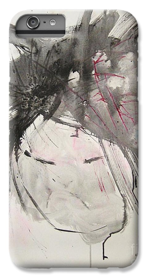 Black And White Paintings IPhone 6 Plus Case featuring the painting Being Patient by Seon-Jeong Kim