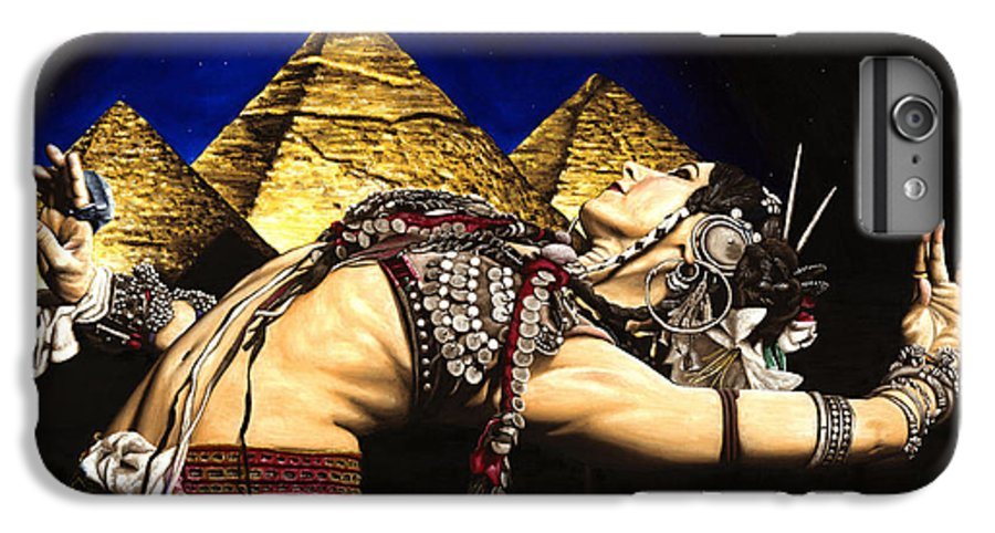Bellydance IPhone 6 Plus Case featuring the painting Bellydance Of The Pyramids - Rachel Brice by Richard Young