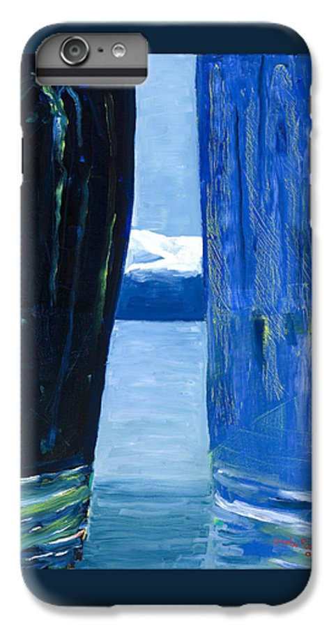 Landscape IPhone 6 Plus Case featuring the painting Between Two Mountains. by Jarle Rosseland