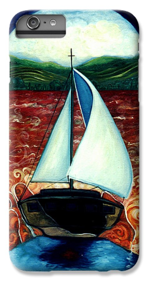 Sailboat IPhone 6 Plus Case featuring the painting Beyond These Shores by Teresa Carter