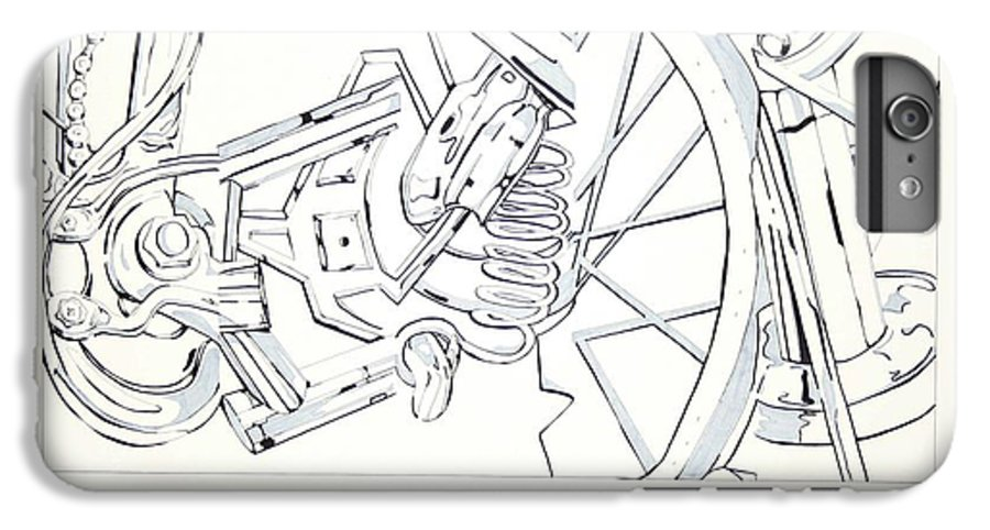 Bicycle IPhone 6 Plus Case featuring the drawing Bicycle by Maryn Crawford