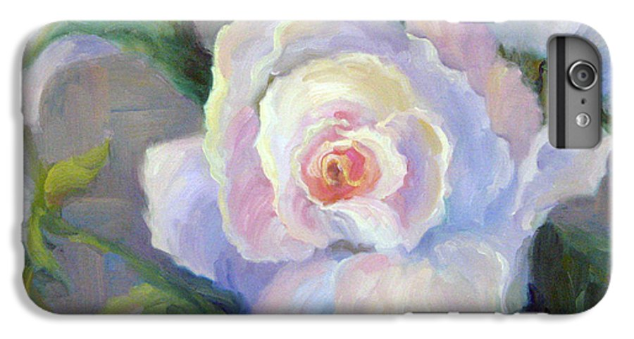 Flower IPhone 6 Plus Case featuring the painting Big Blushing Rose by Bunny Oliver