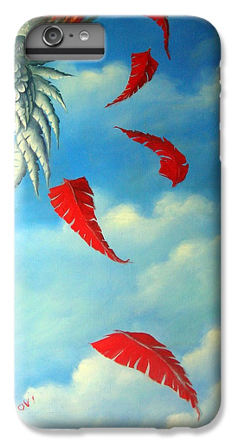 Surreal IPhone 6 Plus Case featuring the painting Bird On Fire by Valerie Vescovi