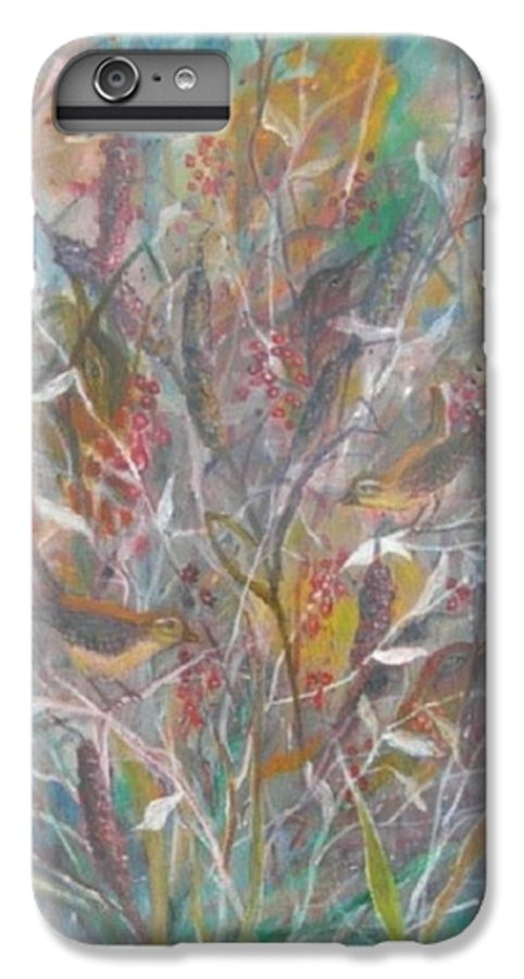 Birds IPhone 6 Plus Case featuring the painting Birds In A Bush by Ben Kiger