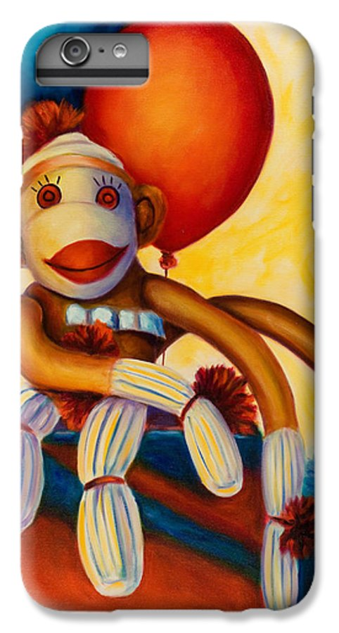 Sock Monkey Brown IPhone 6 Plus Case featuring the painting Birthday Made Of Sockies by Shannon Grissom