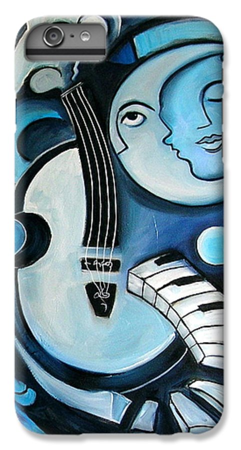 Abstract IPhone 6 Plus Case featuring the painting Black And Bleu by Valerie Vescovi
