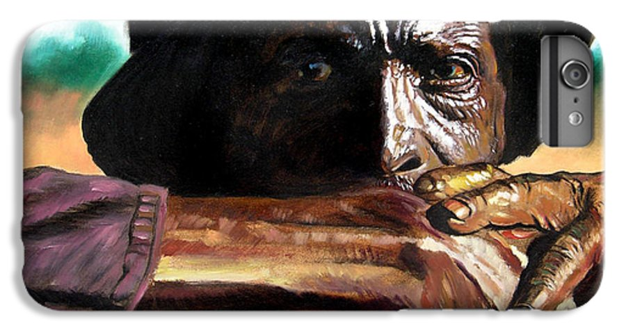 Black Farmer IPhone 6 Plus Case featuring the painting Black Farmer by John Lautermilch