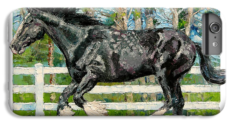 Horse IPhone 6 Plus Case featuring the painting Black Power by John Lautermilch