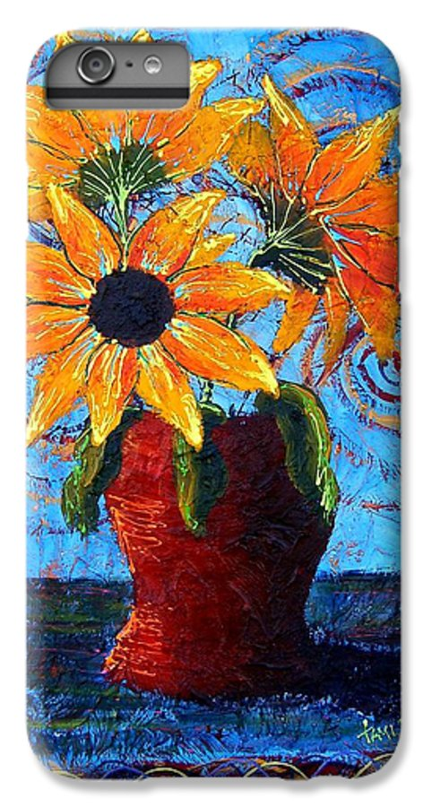 IPhone 6 Plus Case featuring the painting Blazing Sunflowers by Tami Booher