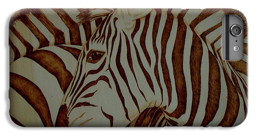 Pyrography; Woodburning; Sepia; Zebra; Stripes; Wild Life; Africa; Horse; Herd; IPhone 6 Plus Case featuring the pyrography Blending In by Jo Schwartz