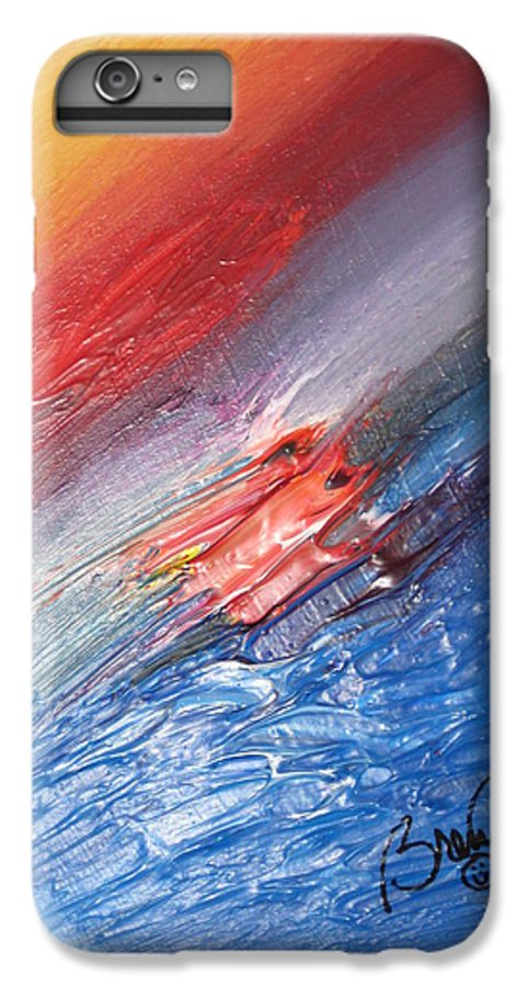Abstract IPhone 6 Plus Case featuring the painting Bliss - D by Brenda Basham Dothage