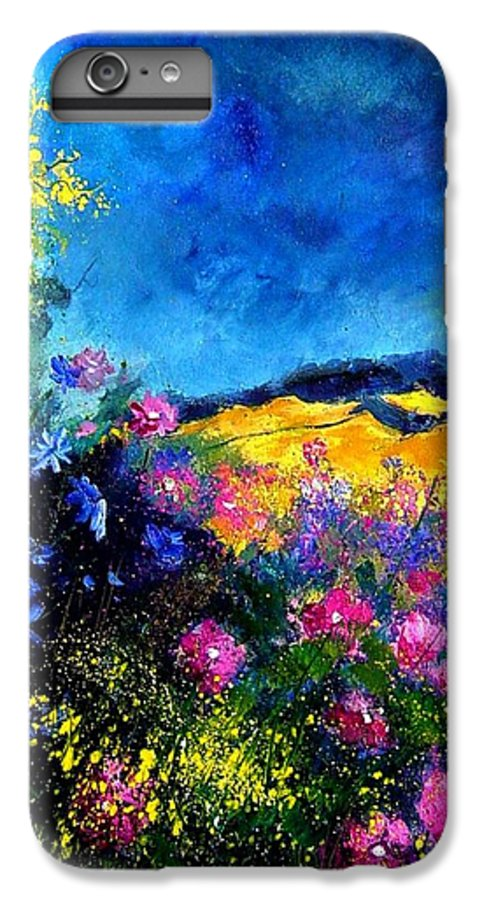Landscape IPhone 6 Plus Case featuring the painting Blue And Pink Flowers by Pol Ledent