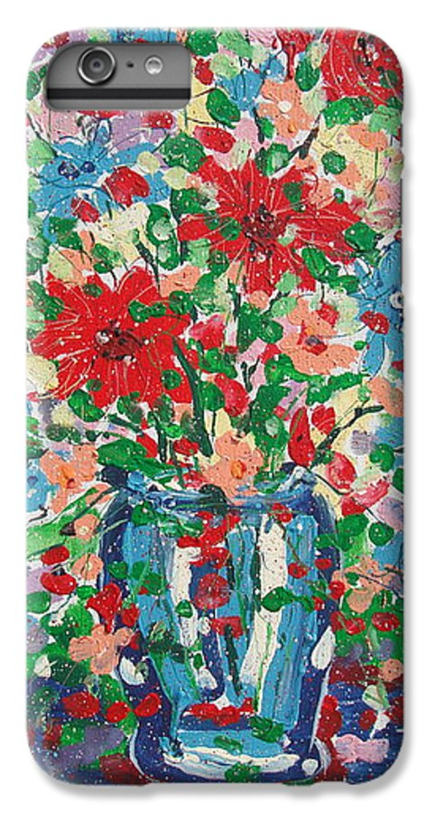 Painting IPhone 6 Plus Case featuring the painting Blue And Red Flowers. by Leonard Holland