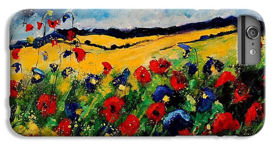 Poppies IPhone 6 Plus Case featuring the painting Blue And Red Poppies 45 by Pol Ledent