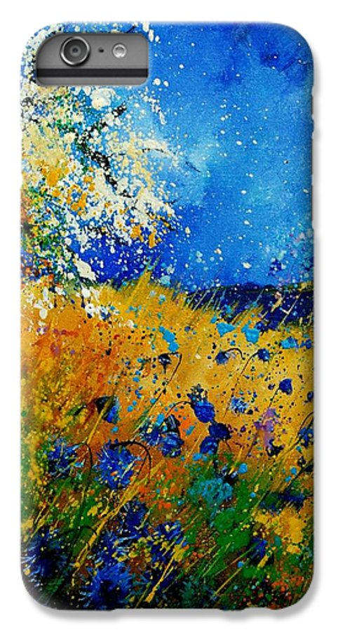 Poppies IPhone 6 Plus Case featuring the painting Blue Cornflowers 450108 by Pol Ledent