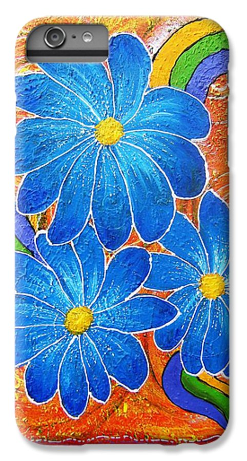 IPhone 6 Plus Case featuring the painting Blue Daisies Gone Wild by Tami Booher