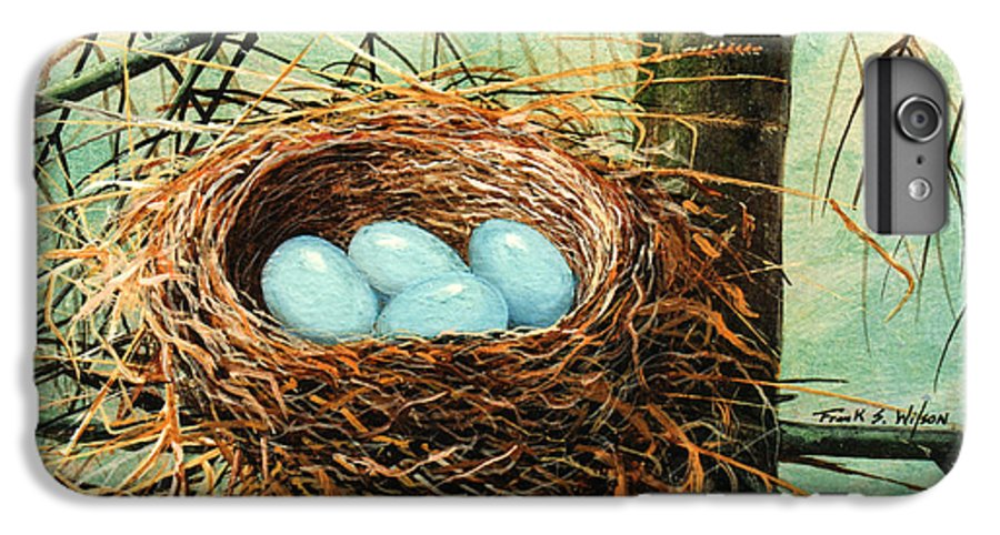 Wildlife IPhone 6 Plus Case featuring the painting Blue Eggs In Nest by Frank Wilson