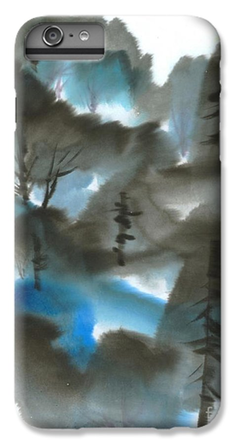 A Forest With A Tint Of Blue. This Is A Contemporary Chinese Ink And Color On Rice Paper Painting With Simple Zen Style Brush Strokes.  IPhone 6 Plus Case featuring the painting Blue Forest by Mui-Joo Wee