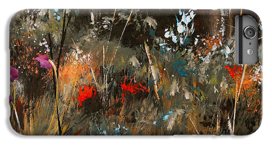 Abstract IPhone 6 Plus Case featuring the painting Blue Grass And Wild Flowers by Ruth Palmer