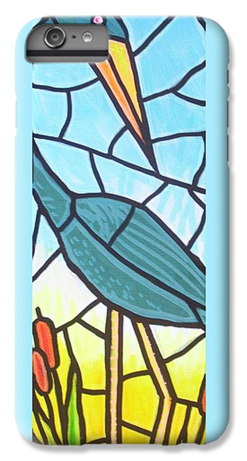 Heron IPhone 6 Plus Case featuring the painting Blue Heron by Jim Harris