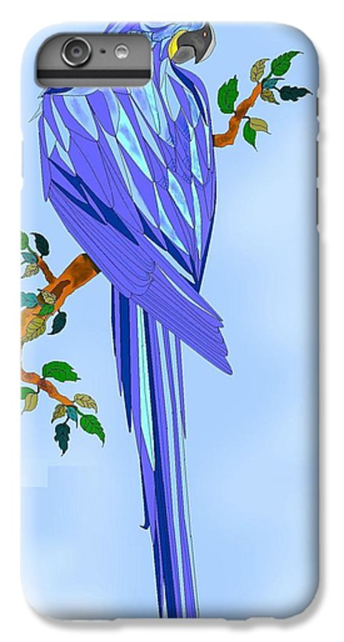 Blue Bird IPhone 6 Plus Case featuring the painting Blue Hyacinth by Anne Norskog