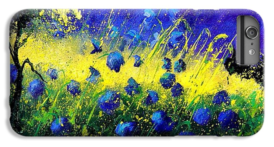 Flowers IPhone 6 Plus Case featuring the painting Blue Poppies by Pol Ledent
