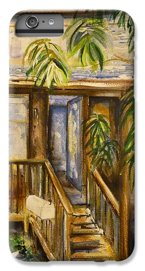 Blue Ridge Mountains IPhone 6 Plus Case featuring the painting Blue Ridge Cabins Blue Ridge Mountains by Lizzy Forrester