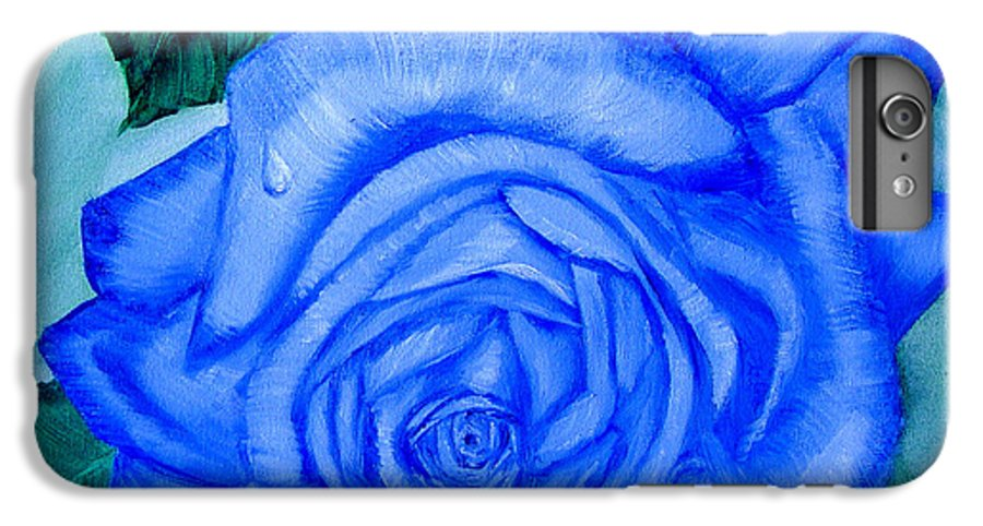 Rose IPhone 6 Plus Case featuring the painting Blue Rose by Quwatha Valentine