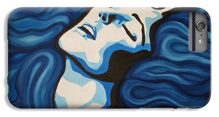 Blue IPhone 6 Plus Case featuring the painting Blue Shimmers by Jindra Noewi