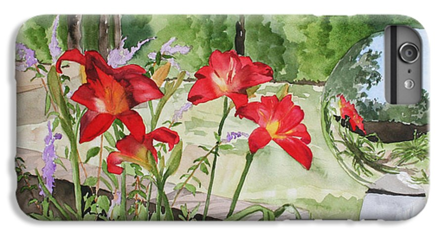 Flowers IPhone 6 Plus Case featuring the painting Blue Sky Reflections by Jean Blackmer
