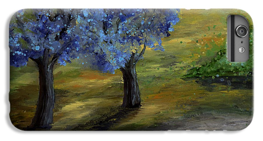 Trees IPhone 6 Plus Case featuring the painting Blue Trees by Laura Swink