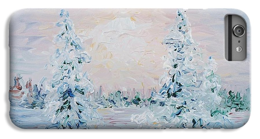 Landscape IPhone 6 Plus Case featuring the painting Blue Winter by Nadine Rippelmeyer