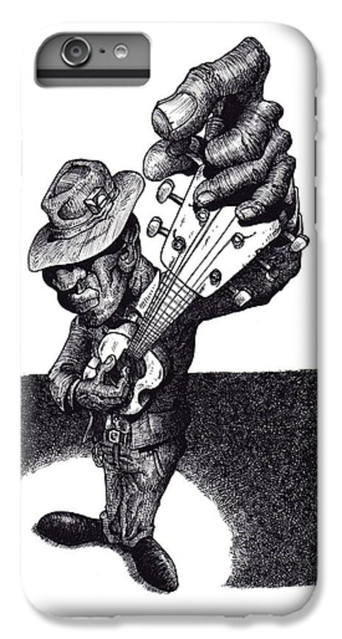 Blues IPhone 6 Plus Case featuring the drawing Blues Guitar by Tobey Anderson