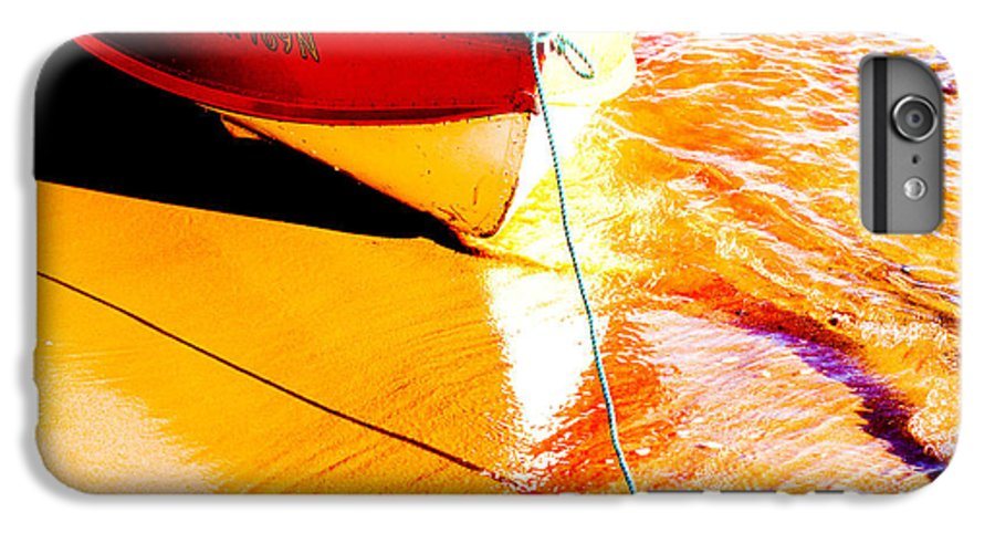 Boat Abstract Yellow Water Orange IPhone 6 Plus Case featuring the photograph Boat Abstract by Sheila Smart Fine Art Photography