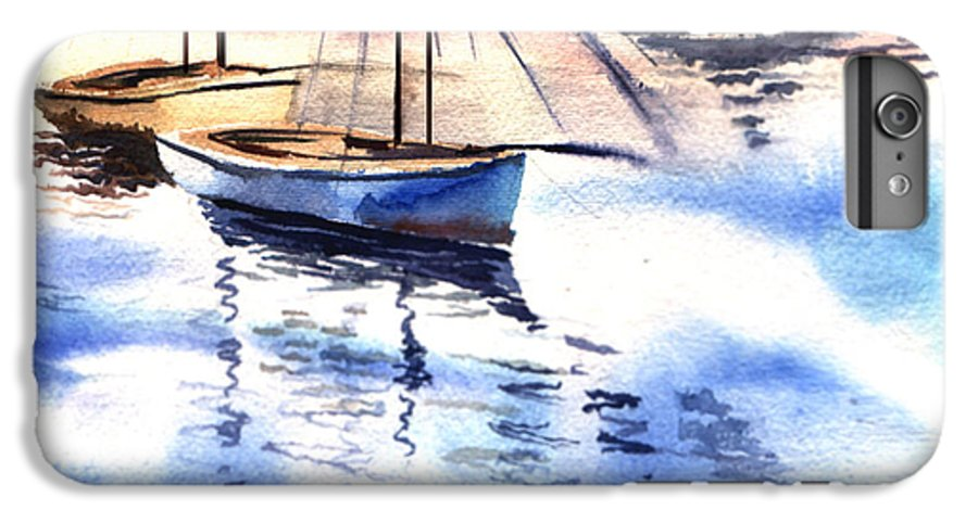 Watercolor IPhone 6 Plus Case featuring the painting Boat And The River by Anil Nene