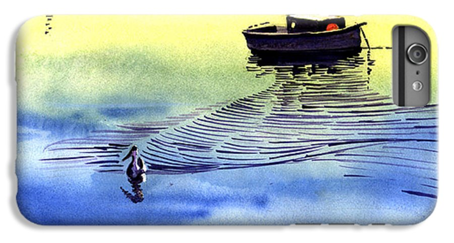 Watercolor IPhone 6 Plus Case featuring the painting Boat And The Seagull by Anil Nene