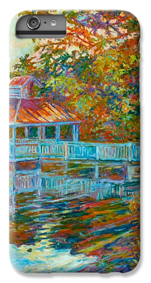 Mountain Lake IPhone 6 Plus Case featuring the painting Boathouse At Mountain Lake by Kendall Kessler