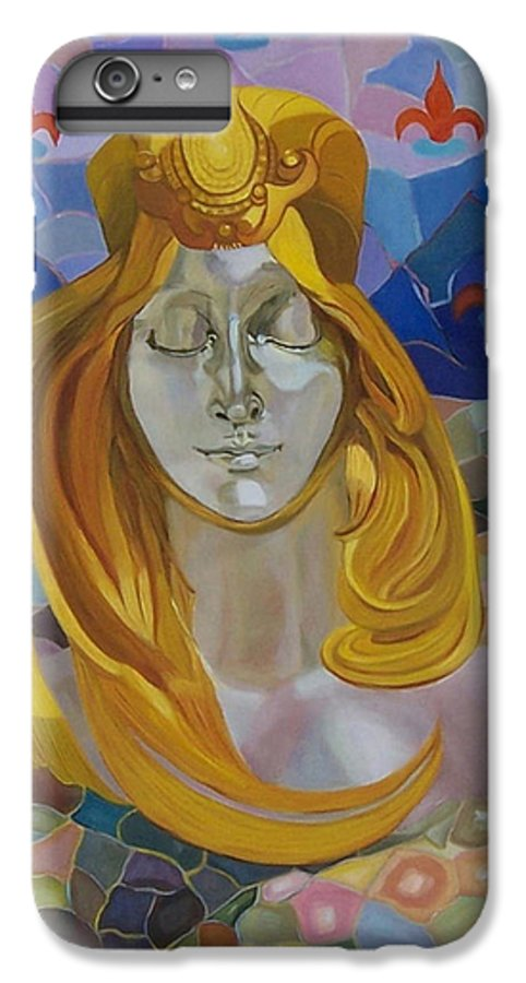 Figurative IPhone 6 Plus Case featuring the painting Born-after Mucha by Antoaneta Melnikova- Hillman