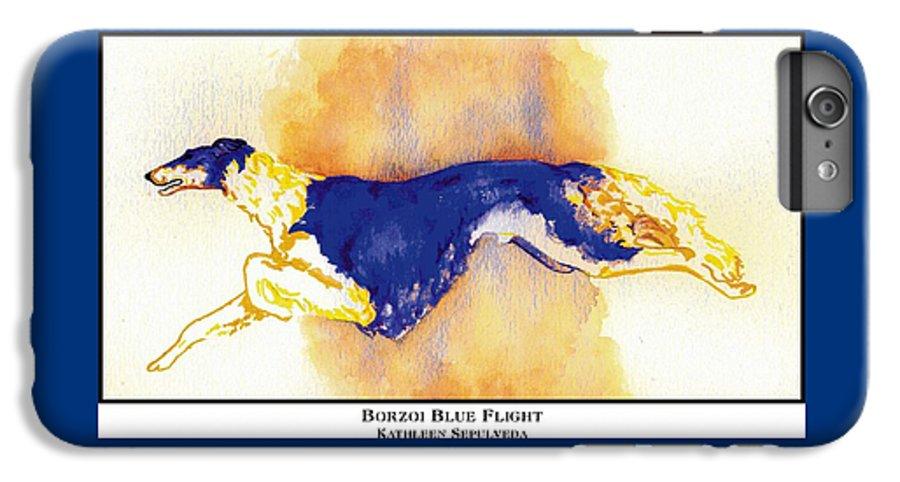 Borzoi IPhone 6 Plus Case featuring the digital art Borzoi Blue Flight by Kathleen Sepulveda