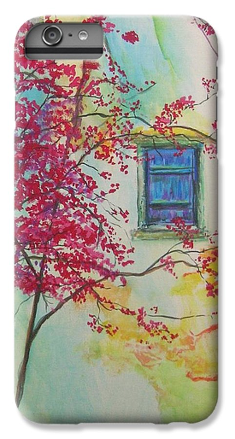 Bouganvilla IPhone 6 Plus Case featuring the painting Bouganvilla And Blue Shutter by Lizzy Forrester