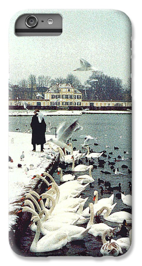 Swans IPhone 6 Plus Case featuring the photograph Boy Feeding Swans- Germany by Nancy Mueller
