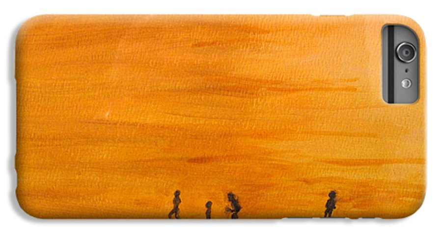 Boys IPhone 6 Plus Case featuring the painting Boys At Sunset by Ian MacDonald